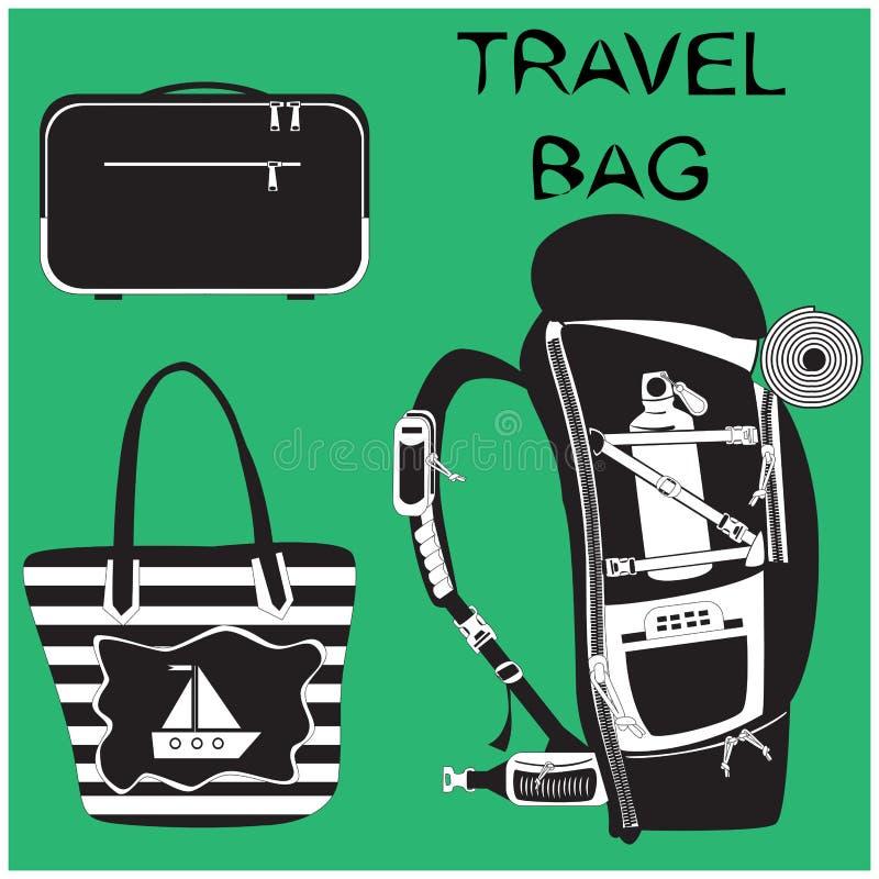 Cartella, borsa della spiaggia e zaino di escursione su fondo verde illustrazione di stock