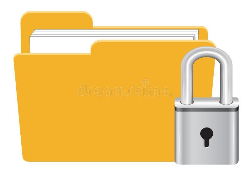 Cartella con il vettore dell'icona della serratura della chiave primaria royalty illustrazione gratis