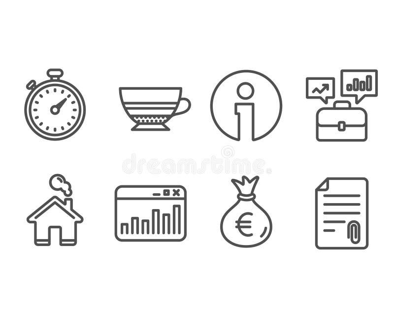 Cartella di affari, borsa dei soldi ed icone di statistiche di vendita Segni della moca, del temporizzatore e del collegamento illustrazione di stock