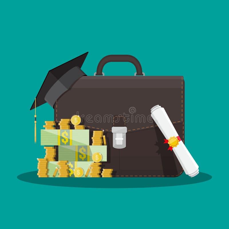Cartella di affari, cappuccio di graduazione, soldi, diploma illustrazione vettoriale