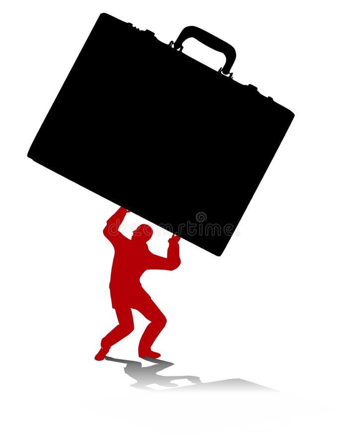 Cartella di trasporto dell'uomo sovraccarico illustrazione di stock