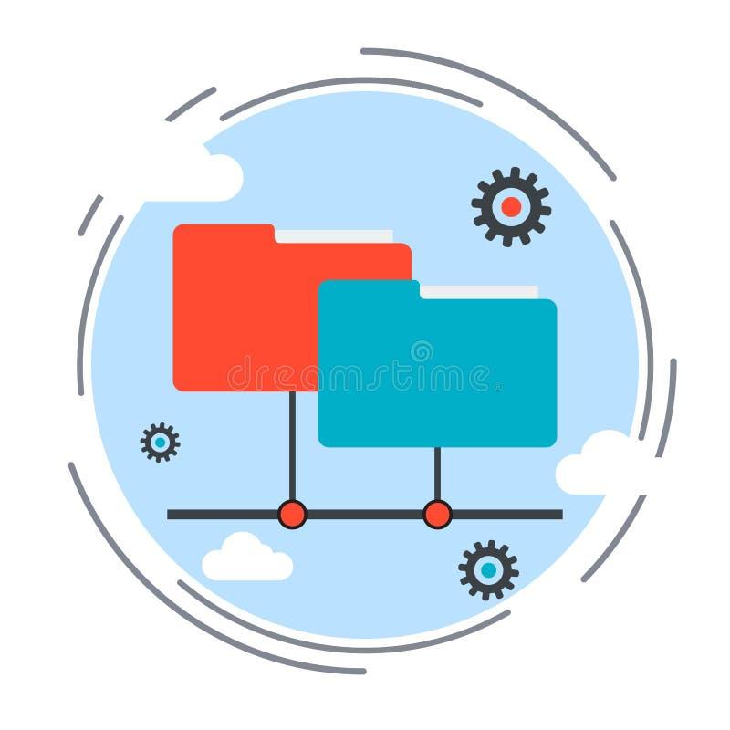 Cartella di web, archiviazione di dati, concetto di vettore di servizio online illustrazione di stock