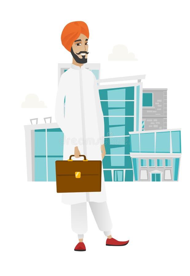 Cartella indù della tenuta dell'uomo d'affari royalty illustrazione gratis