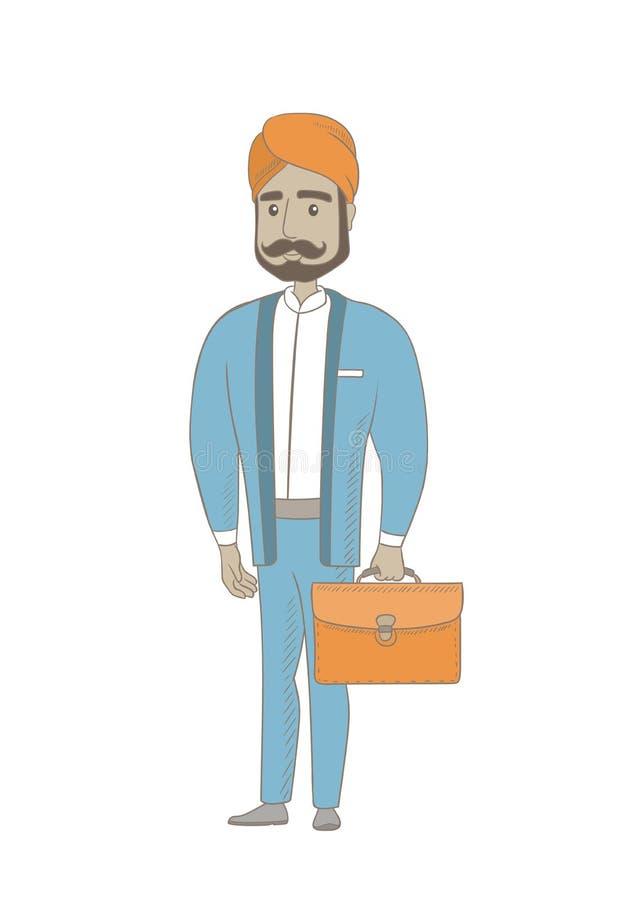 Cartella indù della tenuta dell'uomo d'affari illustrazione vettoriale