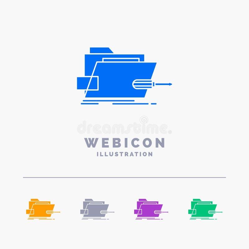 Cartella, riparazione, skrewdriver, tecnologia, modello tecnico dell'icona di web di glifo di 5 colori isolato su bianco Illustra illustrazione vettoriale