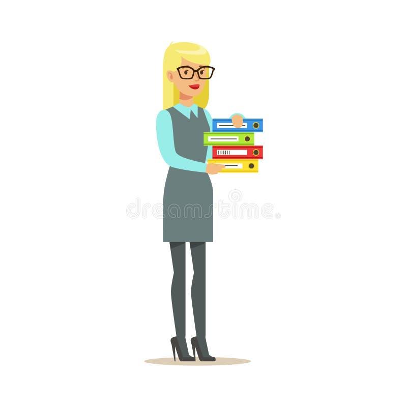 Cartelle bionde di segretario Holding Pile Of, parte della serie degli impiegati di concetto di personaggi dei cartoni animati in illustrazione di stock