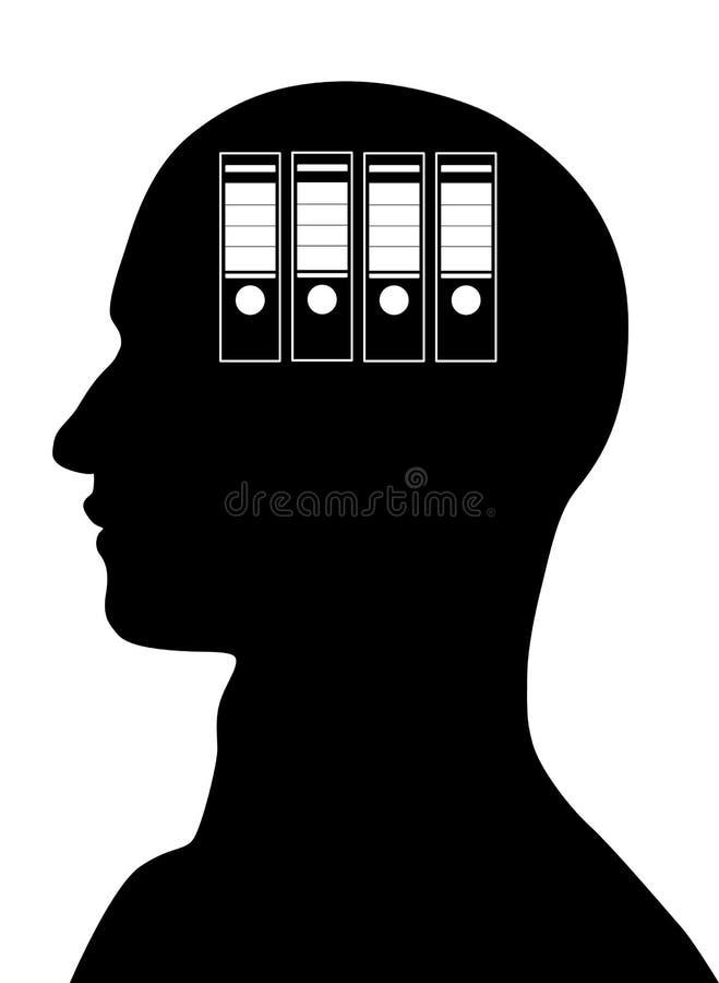 Cartelle nella mente maschio illustrazione di stock