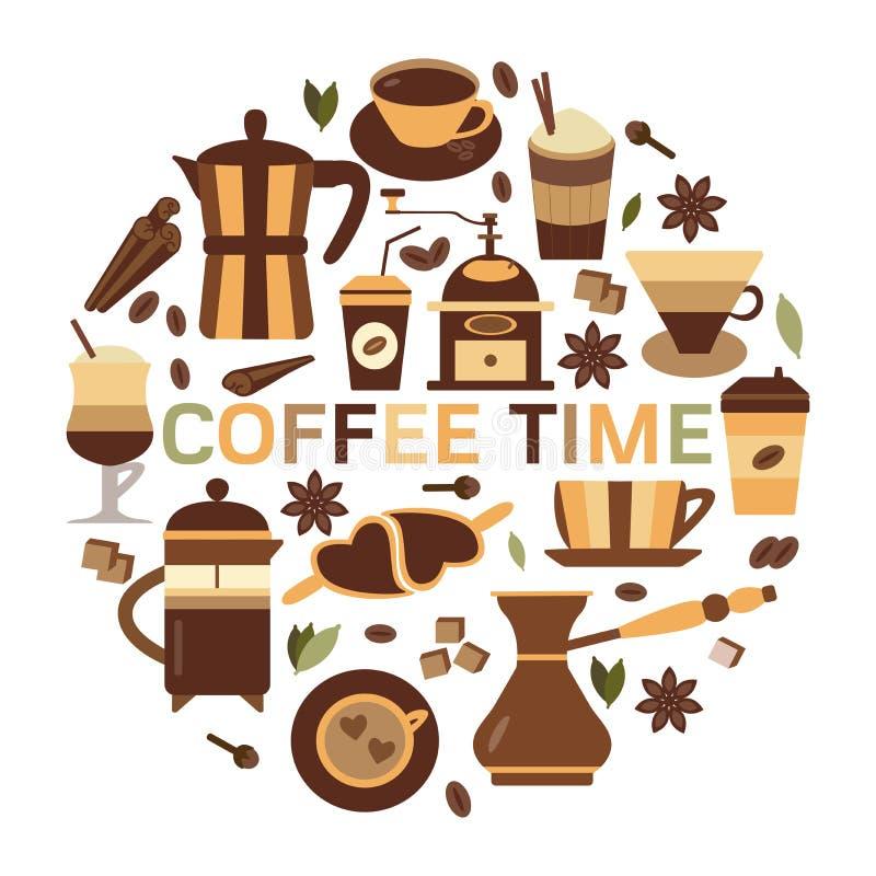 Cartellino marcatempo del caffè nella progettazione piana illustrazione di stock