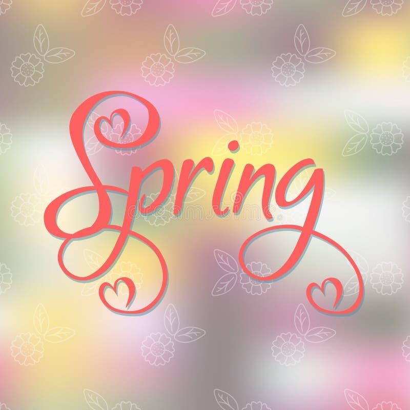 Cartellino marcatempo della primavera su fondo astratto illustrazione di stock