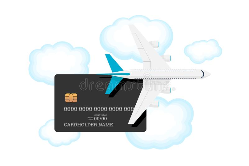 Cartellino a miglia con aereo in cielo con nuvole Carte di credito o di debito in plastica con bonus per i vettori aerei frequent illustrazione di stock