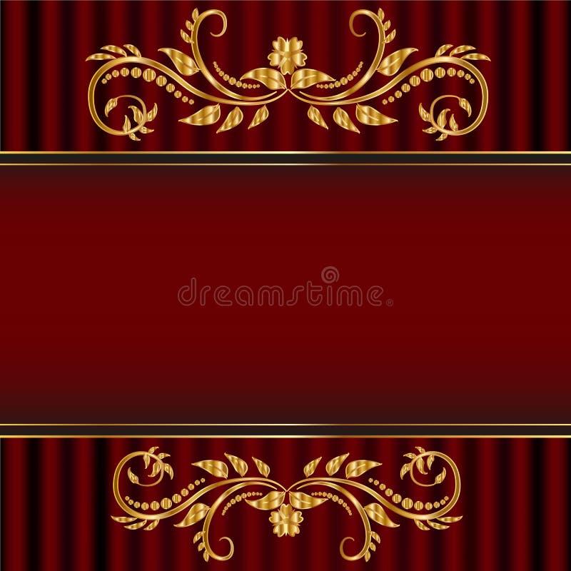 Cartellino rosso con il confine floreale dorato immagini stock