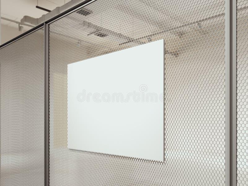 Cartello in bianco della tela sulla parete del rabitz in sala d'esposizione, rappresentazione 3d immagine stock
