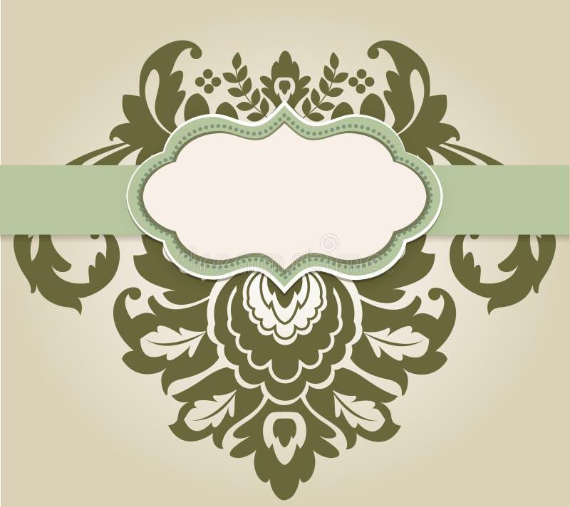 Cartello con l'elemento del damasco royalty illustrazione gratis