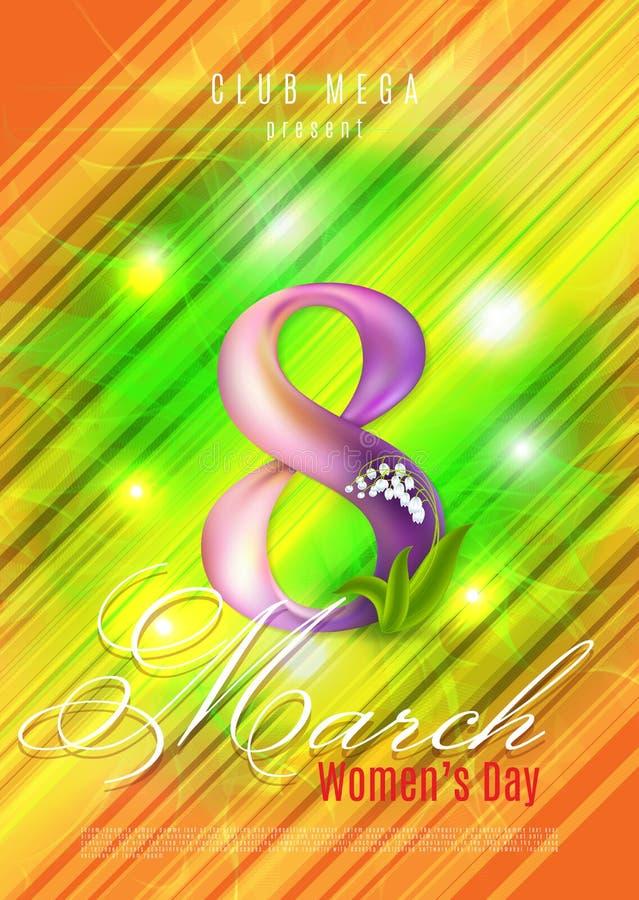 Cartello dell'aletta di filatoio del manifesto o cartolina d'auguri l'8 marzo Illustrazione di vettore illustrazione di stock