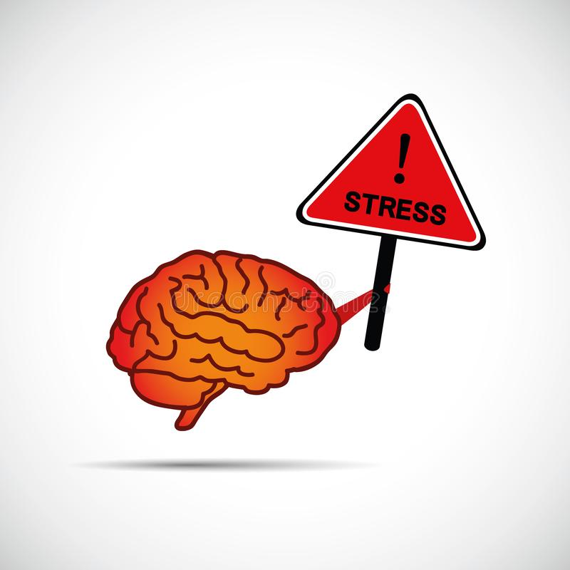 Cartello della tenuta del cervello con il concetto di aiuto di bisogno del cervello di sforzo di parola illustrazione di stock
