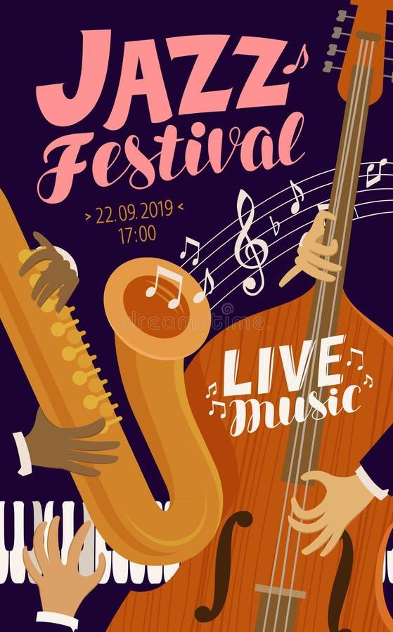 Cartello di festival di jazz Musica in diretta, jive, concetto di concerto Illustrazione di vettore royalty illustrazione gratis