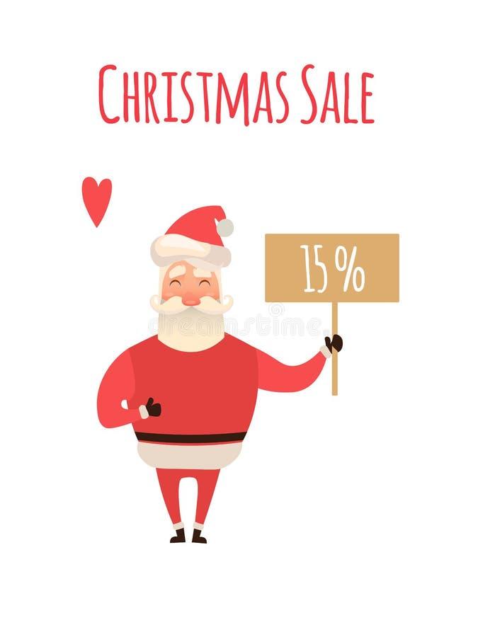 Cartello di vendita di Santa Claus Cartoon Character Holding Christmas nel fondo bianco Illustrazione di natale di vettore per il illustrazione vettoriale