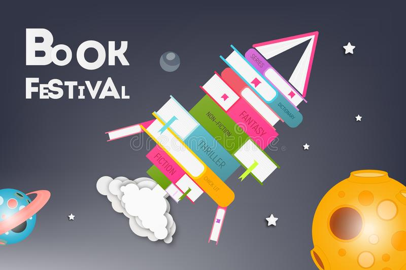 Cartello per il festival del libro royalty illustrazione gratis