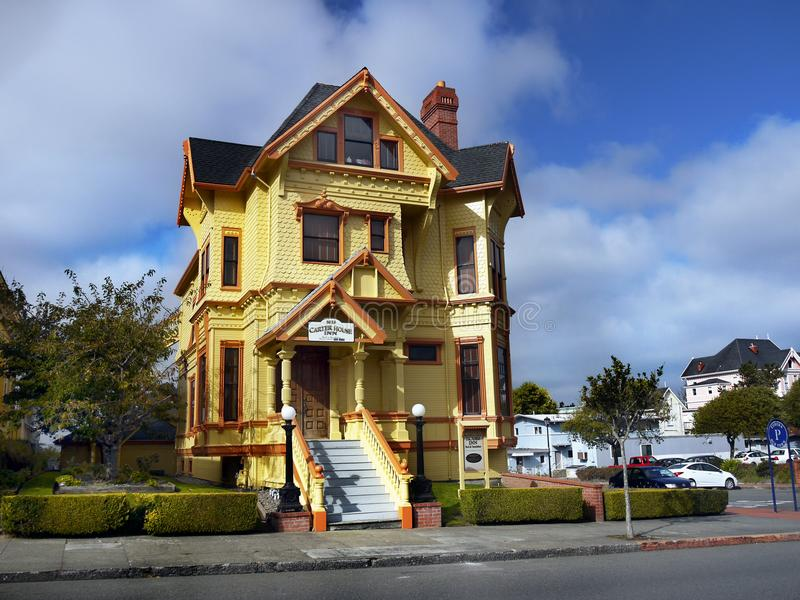 Carter House Inns, Victorian Buildings, Eureka California. Carter House Inns and Restaurant 301, luxurious Victorian buildings. Old Town Eureka. California royalty free stock image
