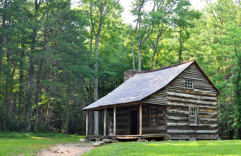Carter Shields Cabin at Cades Cove, a historic log home built in the 1880s. The historical log cabin of the Carter Shields family in Cades Cove, Tennessee royalty free stock photo