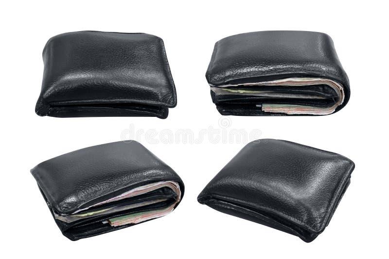 Cartera, billetero, cartera de cuero negra aislada en blanco imagen de archivo libre de regalías