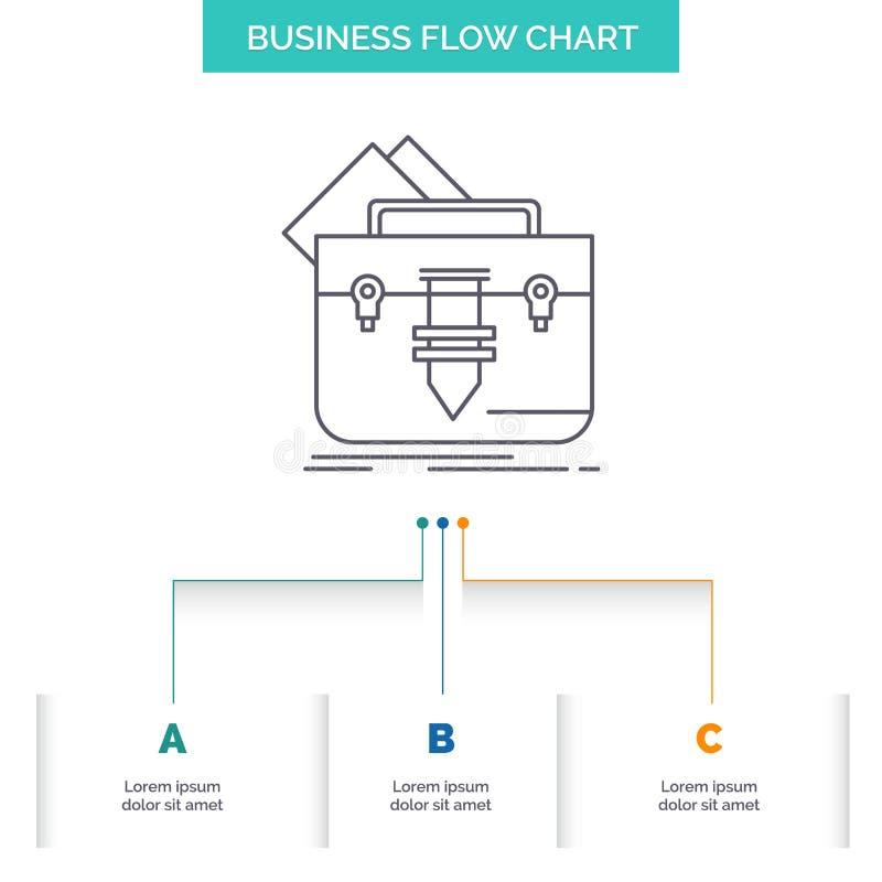 cartera, bolso, fichero, carpeta, diseño del organigrama del negocio de la cartera con 3 pasos L?nea icono para la plantilla del  libre illustration
