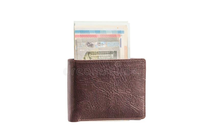 Cartera con el dinero Aislante en el fondo blanco fotos de archivo