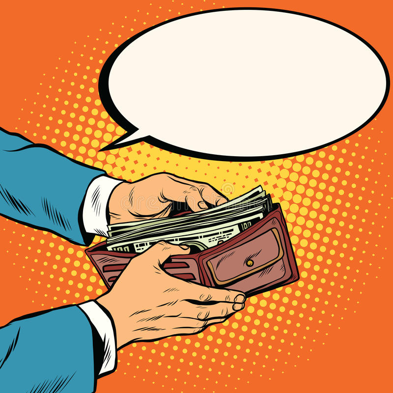 Cartera con el dinero, el negocio y finanzas del efectivo stock de ilustración