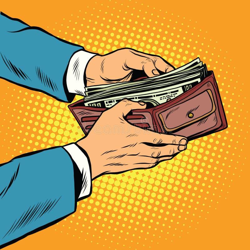 Cartera con el dinero, el negocio y finanzas del efectivo ilustración del vector