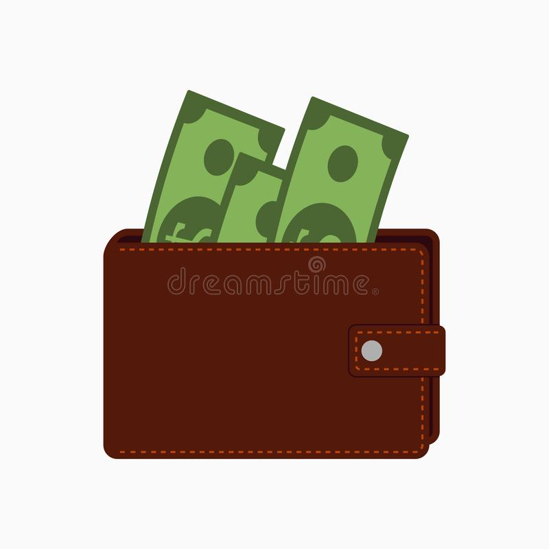 Cartera con el dinero Monedero con los billetes de banco Ilustración del vector stock de ilustración