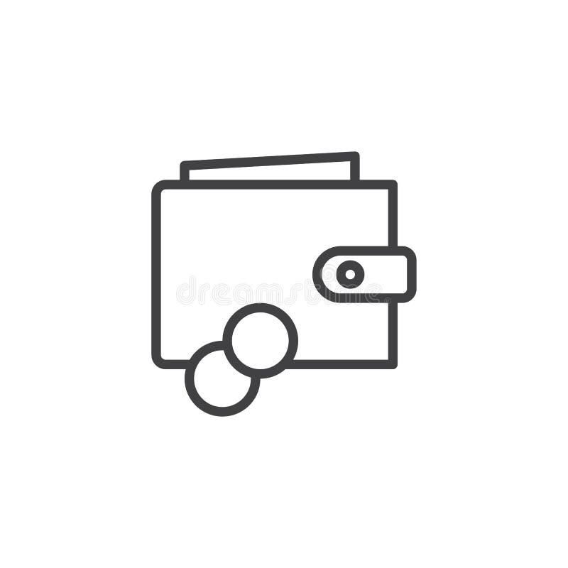 Cartera con el icono del esquema del dinero ilustración del vector