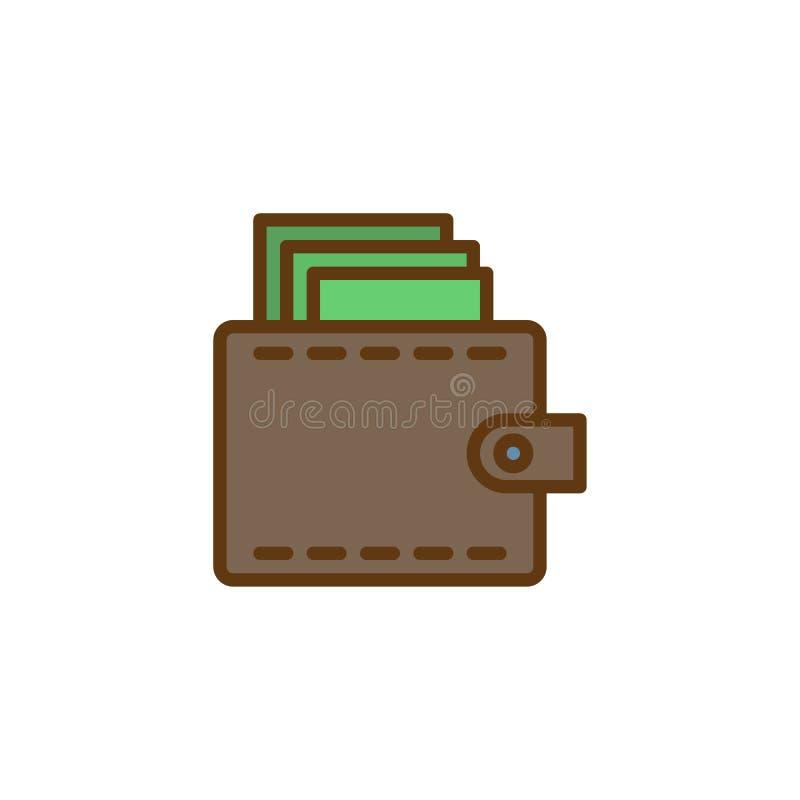 Cartera con el icono llenado dinero del esquema stock de ilustración