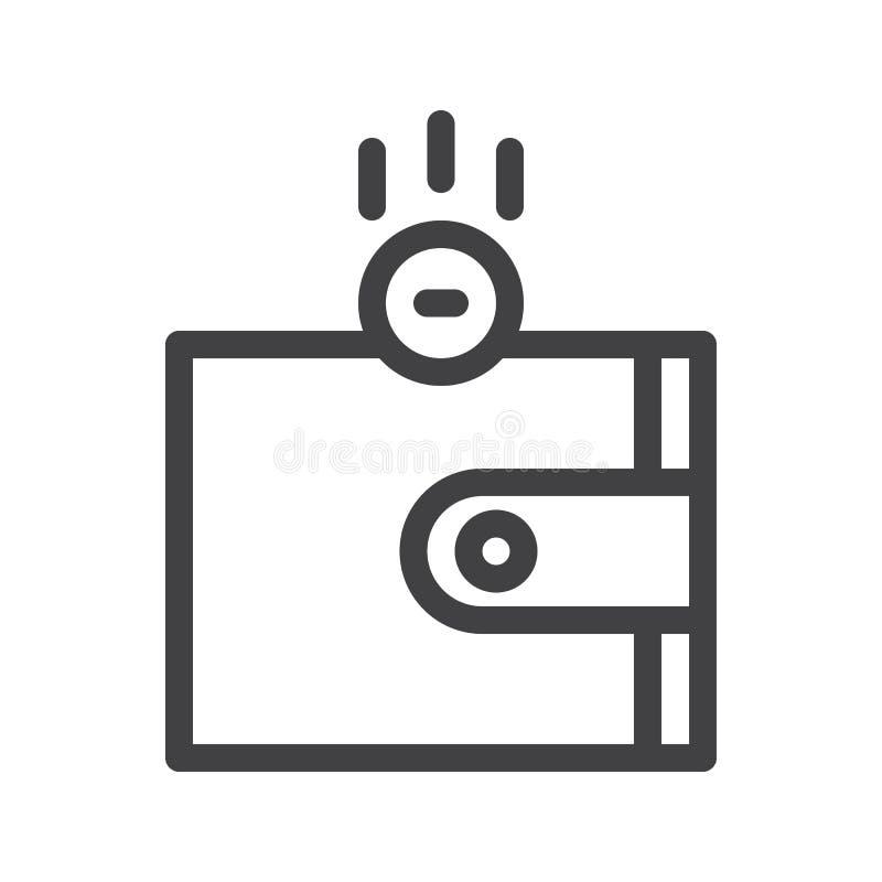 Cartera con la línea icono del dinero ilustración del vector