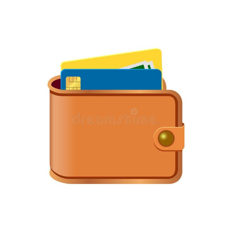 Cartera con la tarjeta y el efectivo Carpeta de Brown con el dinero Concepto para el negocio, impresión, sitios web, revistas, ti libre illustration