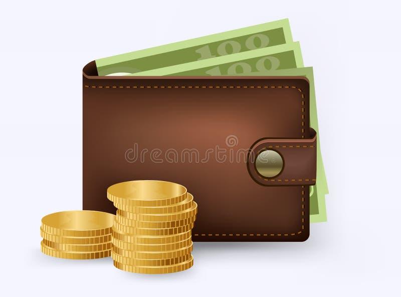 Cartera de Brown con el dinero del Libro Verde Cartera con diseño plano del billete de banco del dólar del dinero aislada, icono  ilustración del vector