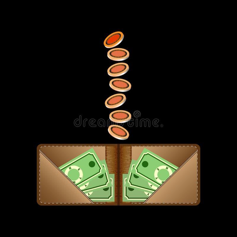 Cartera de Brown con el dinero y las monedas del Libro Verde stock de ilustración