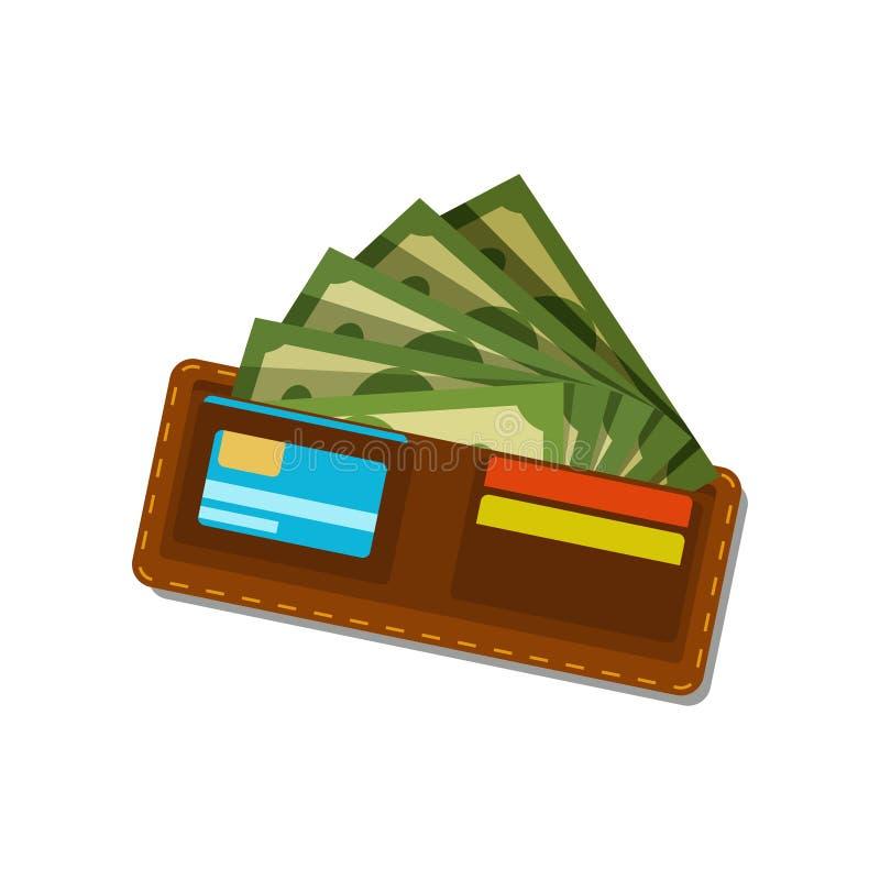 Cartera de Brown con los dólares verdes y las tarjetas de crédito plásticas Billetes Dinero en circulación americano Concepto de  libre illustration