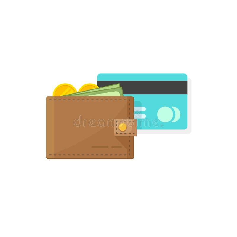 Cartera de cuero con el dinero de las monedas, efectivo de papel y crédito o diseño plano de la historieta del ejemplo del vector libre illustration