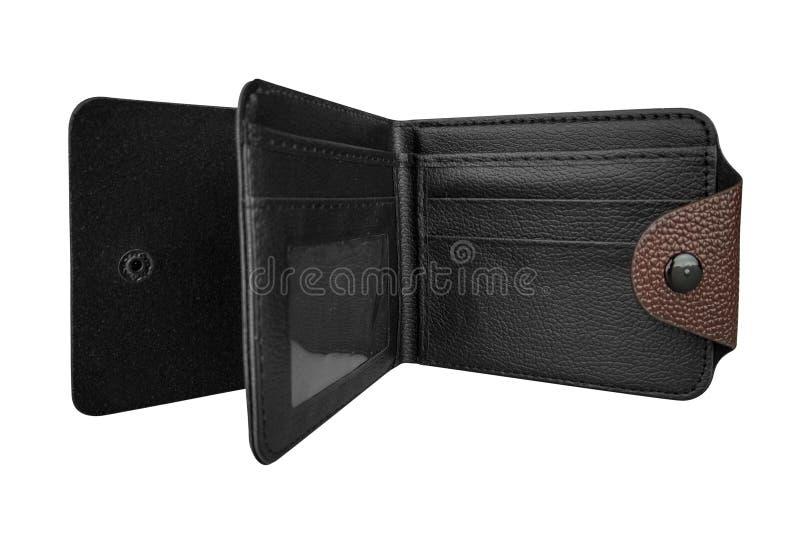 Cartera de cuero del marrón del hombre La cartera abierta elegante con el interior negro, aislado en el fondo blanco, trayectoria fotografía de archivo libre de regalías