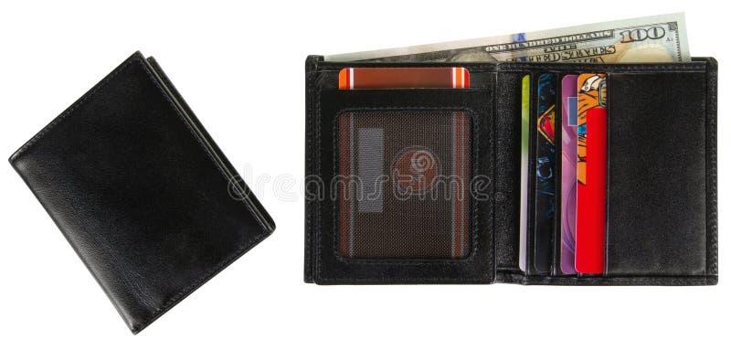 Cartera de cuero llenada de las tarjetas y de 100 dólares americanos fotografía de archivo libre de regalías