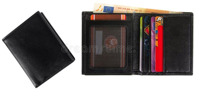 Cartera de cuero negra llenada del euro 50 fotos de archivo libres de regalías