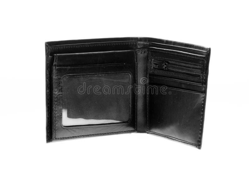 Cartera de cuero negra vacía foto de archivo libre de regalías