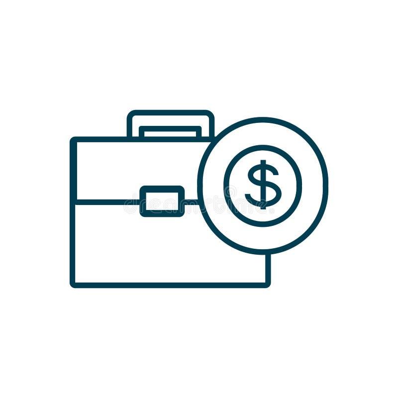 Cartera de la cartera con el icono aislado moneda stock de ilustración