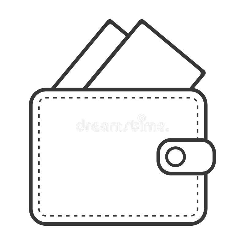 Cartera del esquema con color negro de las tarjetas de crédito en el fondo blanco Esquema de la cartera con las tarjetas de cré ilustración del vector