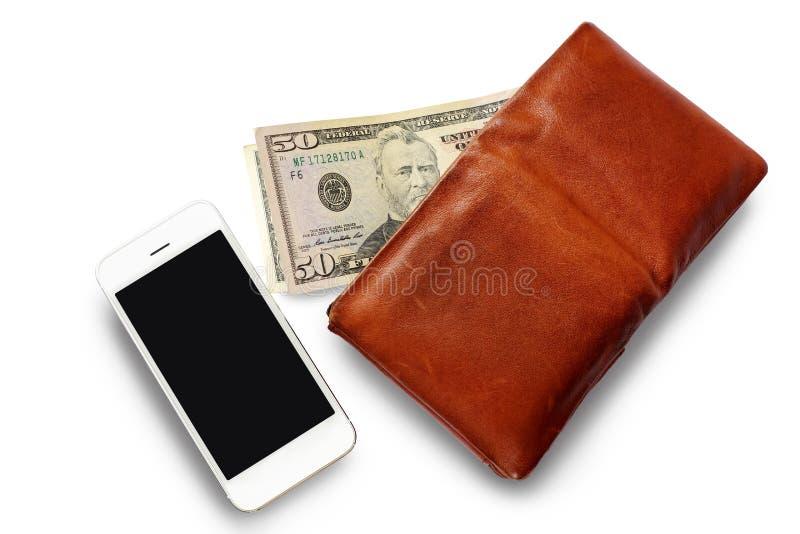 Cartera del ` s de los hombres con efectivo del dólar y el teléfono móvil imagen de archivo