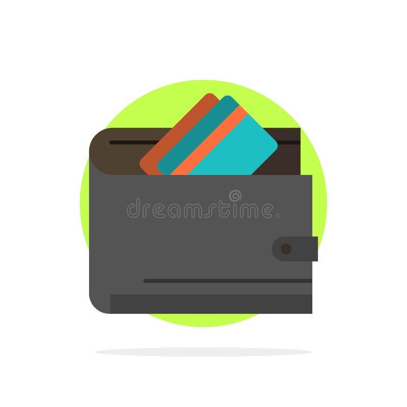 Cartera, efectivo, tarjeta de crédito, dólar, finanzas, icono plano del color de fondo abstracto del círculo del dinero ilustración del vector