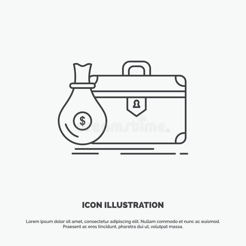 cartera, negocio, caso, abierto, icono de la cartera L?nea s?mbolo gris del vector para UI y UX, p?gina web o aplicaci?n m?vil stock de ilustración