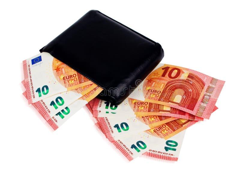 Cartera negra con el euro diez dentro fotografía de archivo libre de regalías