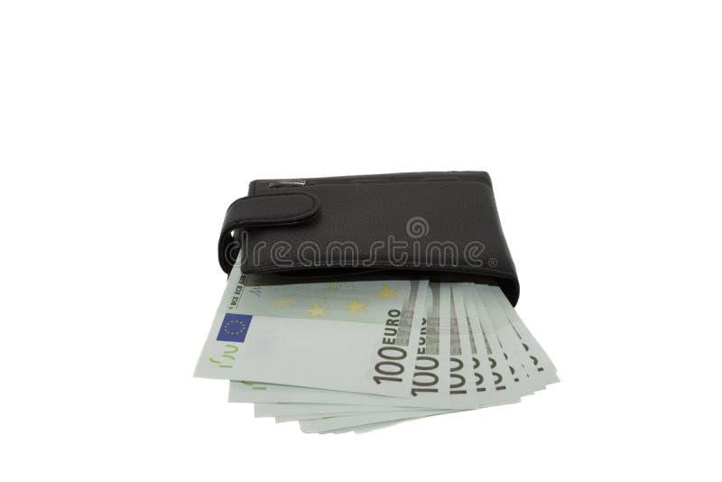 Cartera negra con euros imagen de archivo