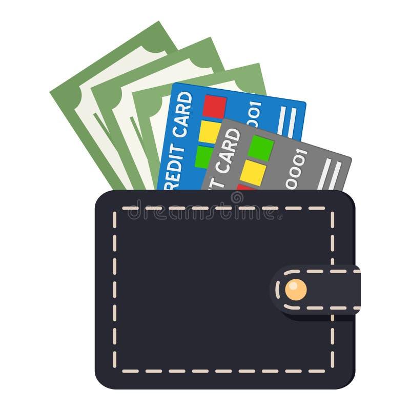 Cartera negra con las tarjetas y los billetes de banco de crédito stock de ilustración
